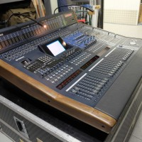 Digital Sound Desk with Meter-Bridge, hardwood side cheeks and Custom Yamaha case on wheels