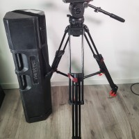 Fluid head + like new Carbon fiber tripod with Quick-lock and mid-spreader