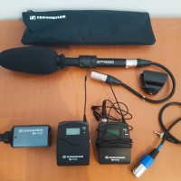 Shotgun microphone + wireless emitter/receiver + lavalier mic