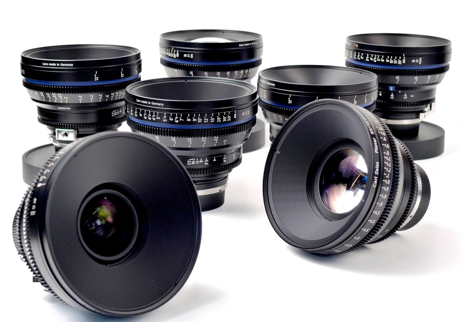 Carl Zeiss Compact Prime CP.2 lenses - set of five with carry case & PL mount changing  - Image #1
