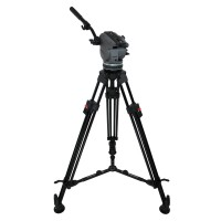 Gamma Fluid Head assembled with 1 handle, 1 stage aluminum ENG Tripod, mid-level Spreader and rubber feet