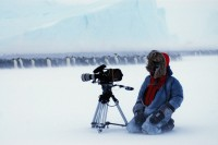 Wade Fairley shooting blizzard winter scenes for the BBC Natural History Units Planet Earth series.